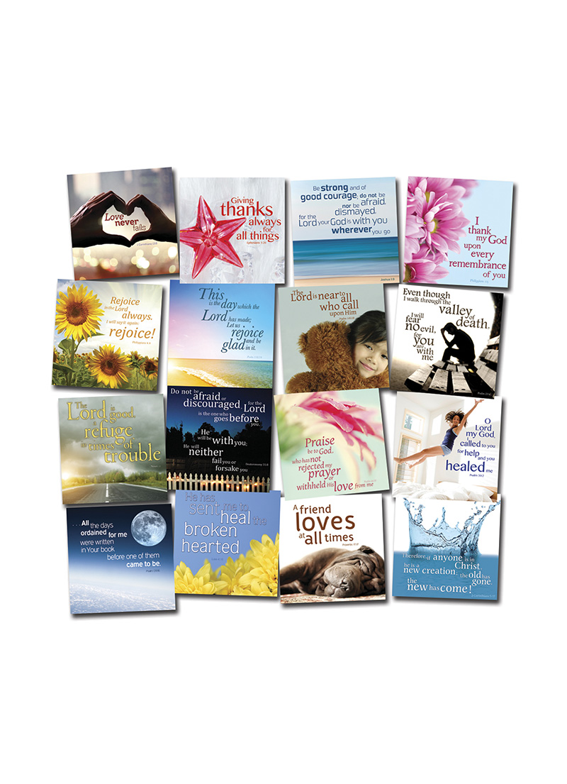 Three cards for £1. You will receive three assorted designs. Each card features an inspirational Bible verse or quote. The perfect gesture for any occasion.